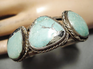 Superior Early Vintage Native American Navajo Carico Lake Turquoise Sterling Silver Bracelet Old