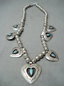 Exceptional Vintage Native American Navajo Turquoise Sterling Silver Hearts Necklace