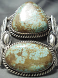 One Of The Biggest Best Vintage Native American Navajo #8 Turquoise Sterling Silver Bracelet