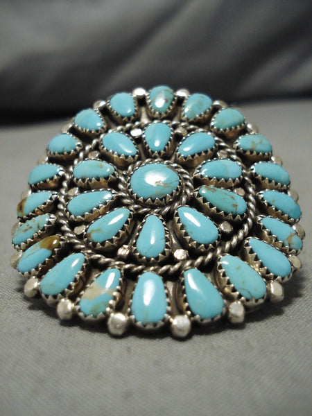 Marvelous Vintage Native American Navajo Large Turquoise Rex Tso Sterling Silver Ring