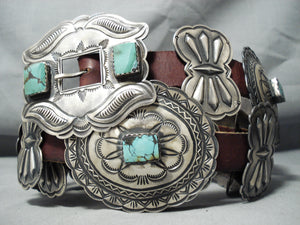 One Of Best Vintage Native American Navajo Green Turquoise Sterling Silver Concho Belt