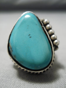 Vivid Blue Vintage Native American Navajo Turquoise Sterling Silver Ring