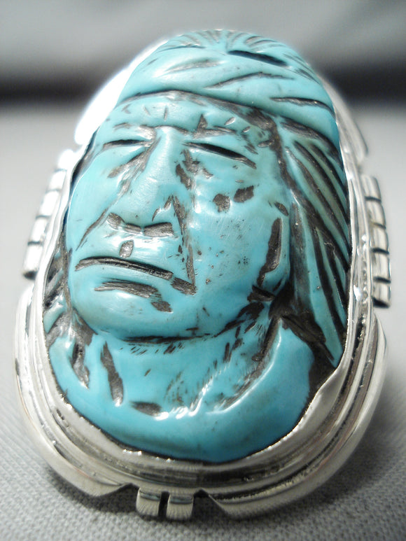 Native American Incredibly Intricate Hand Carved Turquoise Indian Sterling Silver Ring