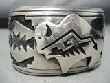 Extremely Rare Vintage Native American Navajo Thomas Singer Sterling Silver Protruding Bracelet