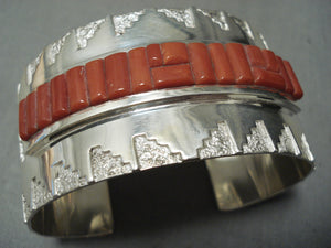 Important Native American Navajo Coral Row Wide Sterling Silver Bracelet Cuff