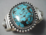 Show-stopping Vintage Native American Navajo Spiderweb Turquoise Sterling Silver Bracelet Old