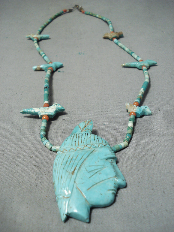 One Of The Finest Vintage Native American Navajo Turquoise Indian Head Sterling Silver Necklace