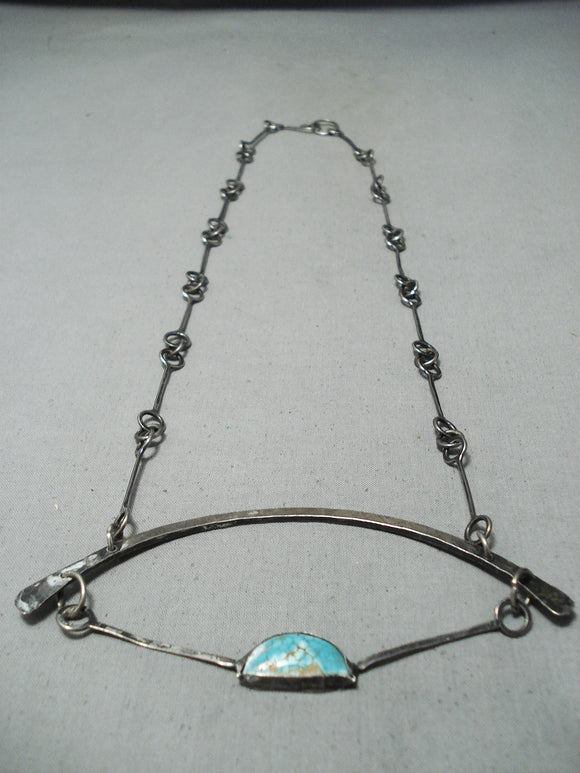 Outstanding Vintage Native American Navajo Spiderweb Turquoise Sterling Silver Necklace Old
