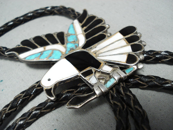 Native American Museum Flying Eagle Vintage Zuni Turquoise Inlay Sterling Silver Bolo Tie