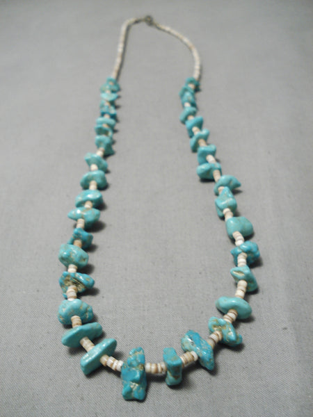 Incredible Vintage Native American Navajo Blue Gem Turquoise Nativw American Necklace Old