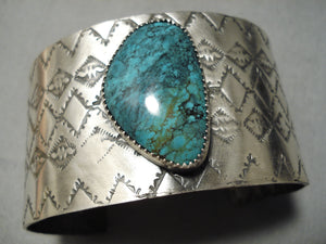 Native American Huge Wide Spiderweb Turquoise Sterling Silver Bracelet Cuff Jewelry