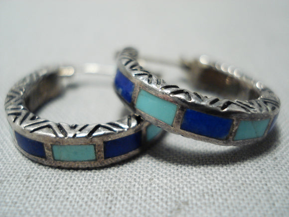 Intricate Vintage Native American Zuni Turquoise Lapis Sterling Silver Earrings Old