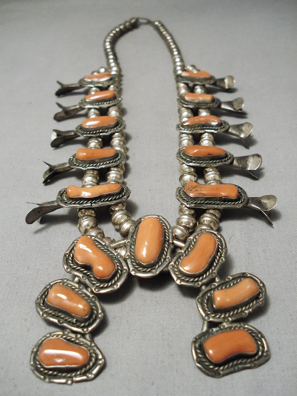 Opulent Vintage Native American Navajo Coral Sterling Silver Squash Blossom Necklace Old