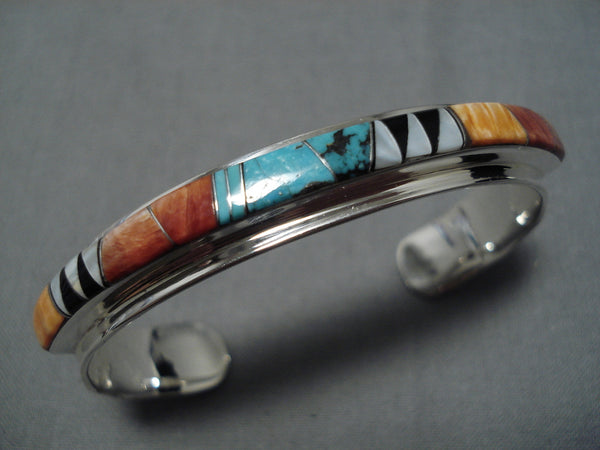 Patrick Lincoln Vintage Native American Navajo Sterling Silver Royston Turquoise Bracelet