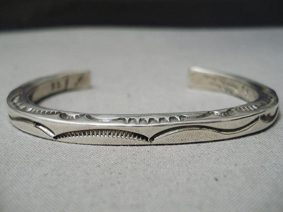 Authentic Vintage Native American Navajo Orville Tsinnie Sterling Silver Bracelet
