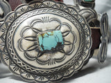 One Of The Finest Vintage Native American Navajo Damale Turquoise Sterling Silver Concho Belt