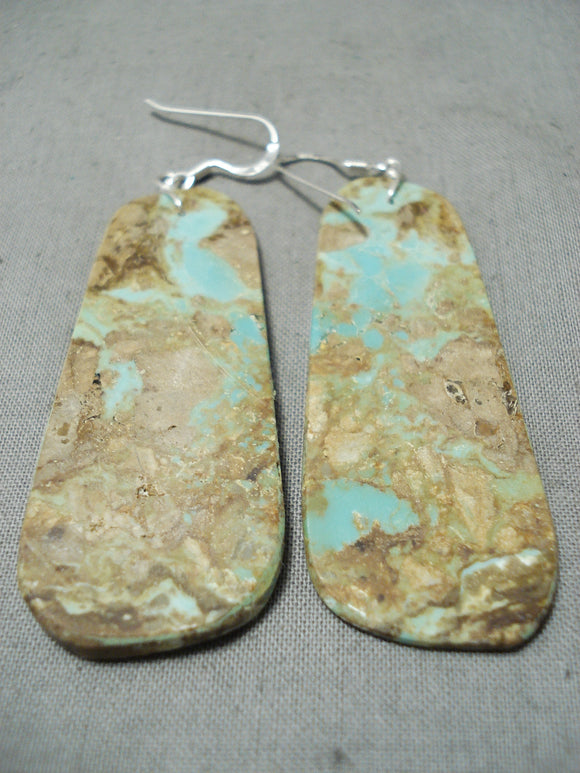 Huge Santo Domingo Royston Slab Sterling Silver Earrings Native American