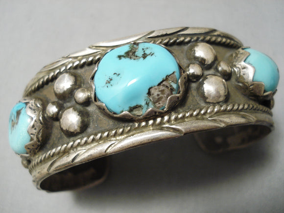 Thick And Heavy! Vintage Native American Navajo Turquoise Sterling Silver Bracelet Old