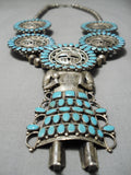 Larry Mos Begay Vintage Native American Navajo Turquoise Sterling Silver Squash Blossom Necklace