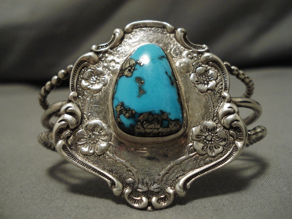 Incredible Vintage Native American Navajo Morenci Turquoise Sterling Silver Bracelet Old Cuff