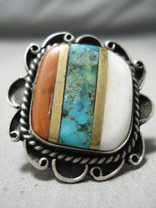 Colossal Vintage Native American Navajo Turquoise Coral Sterling Silver Ring Old