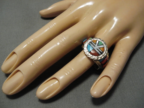 Amazing Vintage Native American Navajo Sterling Silver Native Ameircan Inlay Ring