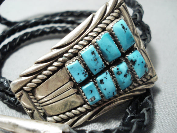 Incredible Vintage Native American Navajo Sleeping Beauty Turquoise Sterling Silver Bolo Old