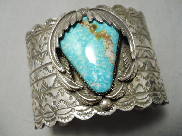 Massive Native American Triangle Turquoise Sterling Silver Leaves Bracelet