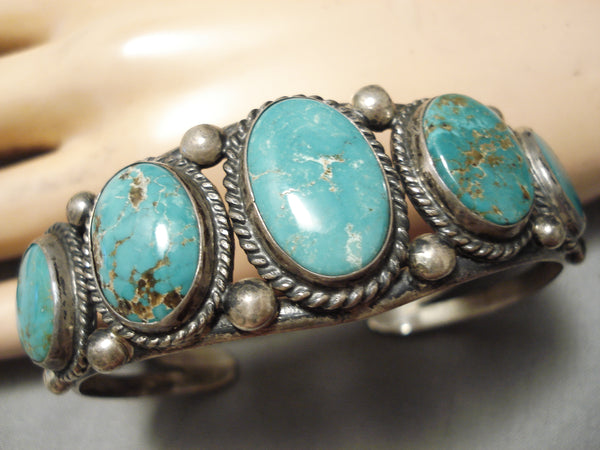 Museum Vintage Native American Navajo Graduating Royston Turquoise Sterling Silver Bracelet