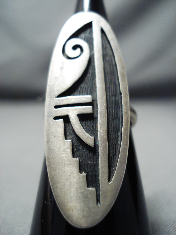 Expressive Vintage Hopi Sterling Silver Ring Native American Old