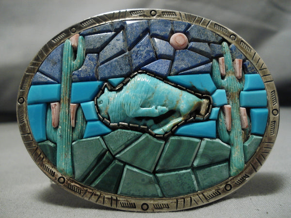 Native American Detailed And Intricate!! Vintage Navajo Turquoise Sterling Silver Belt Buckle