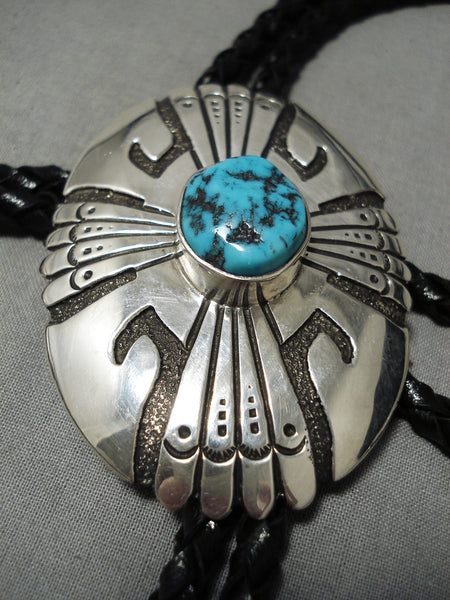Authentic Vintage Native American Navajo Thomas Singer Turquoise Sterling Silver Bolo Tie