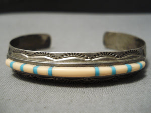 Important Vintage San Felipe Turquoise Sterling Silver Inlay Bracelet Old