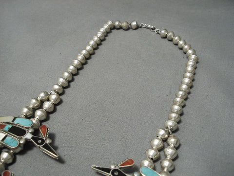 Important Vintage Native American Zuni Squash Blossom Sterling Silver Turquoise Inlay Necklace
