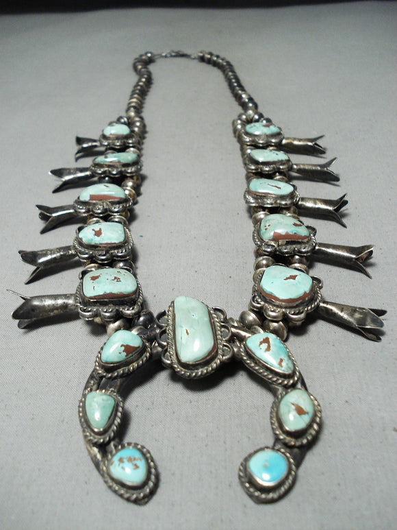 Heavy Women's Vintage Native American Navajo Turquoise Sterling Silver Squash Blossom Necklace