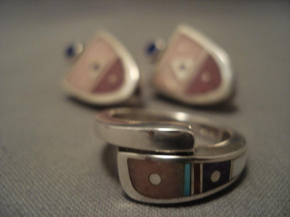 Fab Modernistic Navajo Pink Shell Turquoise Native American Jewelry Silver Ring Earrings-Nativo Arts