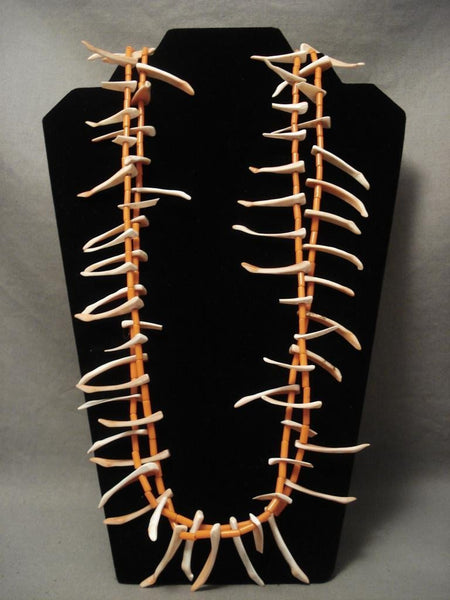 Fab Vintage Santo Domingo Orange Coral Long Shell Necklace