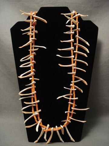 Fab Vintage Santo Domingo Orange Coral Long Shell Necklace-Nativo Arts