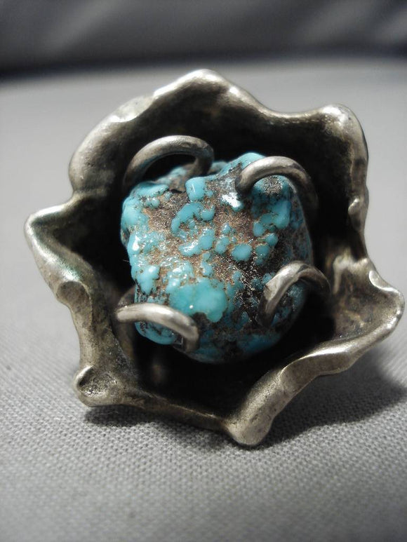 Fabulous Huge Vintage Native American Navajo Flower Sterling Silver Turquoise Ring Old-Nativo Arts
