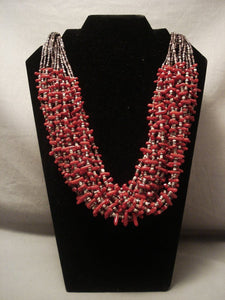 Fabulous Modernistic Navajo Native American Jewelry jewelry Deep Coral 20 Strand Necklace-Nativo Arts