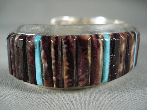 Fabulous Modernistic Navajo Purple Spiny Oyster Native American Jewelry Silver Bracelet-Nativo Arts