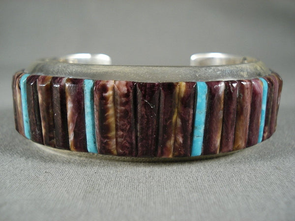 Fabulous Modernistic Navajo Purple Spiny Oyster Native American Jewelry Silver Bracelet