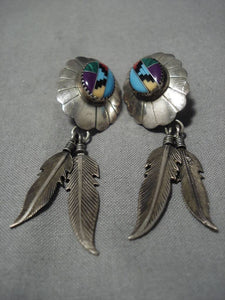 Fabulous Vintage Native American Navajo Turquoise Coeal Sterling Silver Earrings Old-Nativo Arts