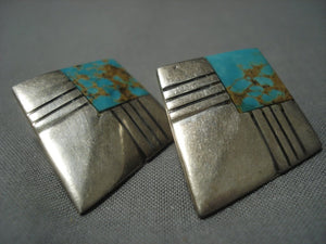 Fabulous Vintage Navajo #8 Turquoise Sterling Native American Jewelry Silver Earrings Old Pawn-Nativo Arts
