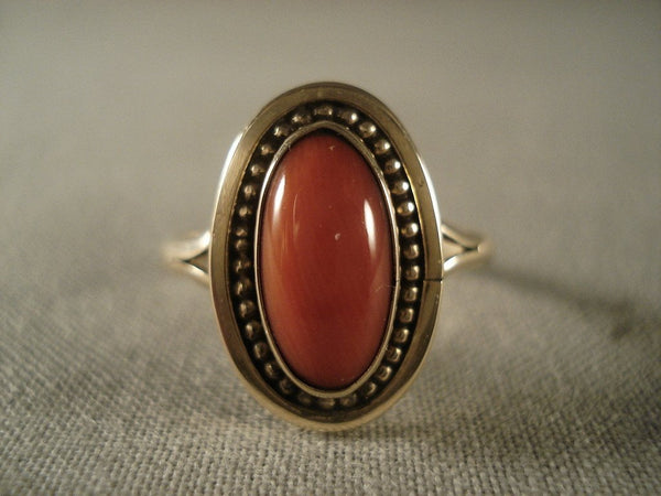 Fabulous Vintage Navajo Native American Jewelry jewelry 14k Gold Domed Coral Ring Old Vtg Native