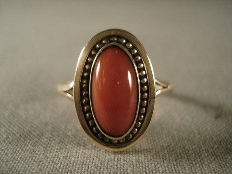 Fabulous Vintage Navajo Native American Jewelry jewelry 14k Gold Domed Coral Ring Old Vtg Native-Nativo Arts