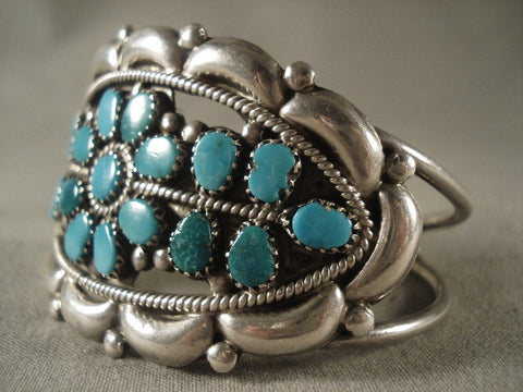 Fabulous Vintage Navajo turquoise Flower Native American Jewelry Silver Bracelet-Nativo Arts