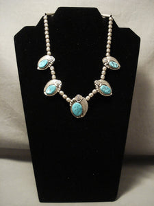 Fabulous Vintage Navajo Turquoise Native American Jewelry Silver Leaf Necklace Old-Nativo Arts