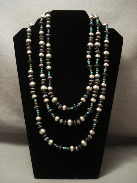 Fabulous Vintage Navajo 'Wrap Around' Sterling Native American Jewelry Silver Turquoise Necklace