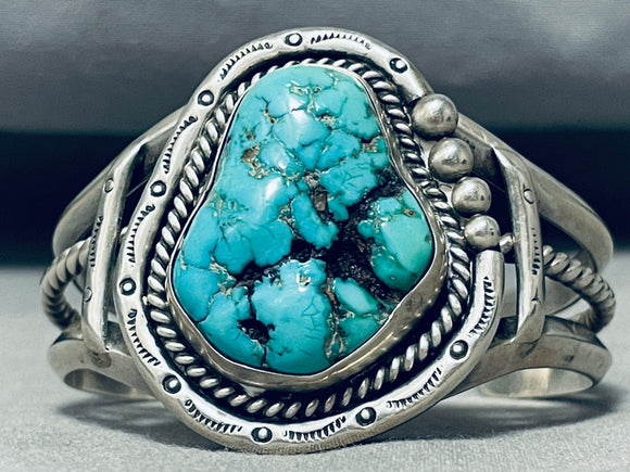 Heavy Chunky Turquoise Vintage Native American Navajo Sterling Silver Bracelet